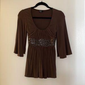 Sky leather trimmed top size XS